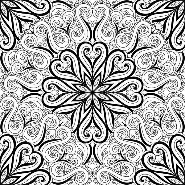 Vektor végtelenített monokróm díszes minta kézzel rajzolt Stock fotó © lissantee