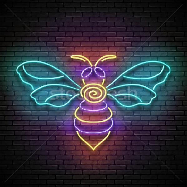 Vintage свечение пчела Flying Bee Сток-фото © lissantee