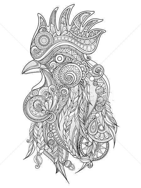Vetor galo cabeça tribal monocromático Foto stock © lissantee