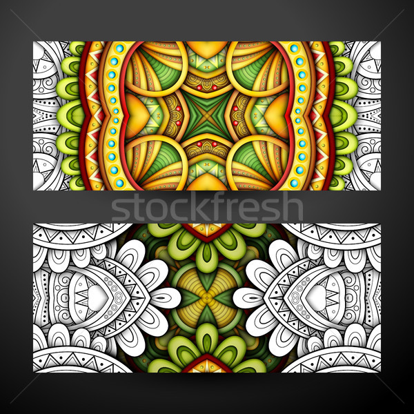 Set of Partially Colored Banners, Web Design Element Stock photo © lissantee