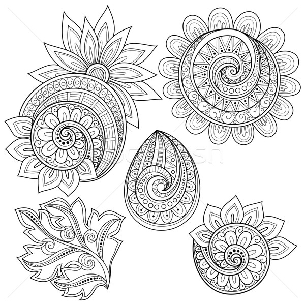 Vector Set of Monochrome Contour Floral Doodles Stock photo © lissantee