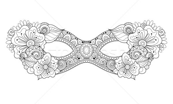 Vector Ornate Monochrome Mardi Gras Carnival Mask with Decorativ Stock photo © lissantee