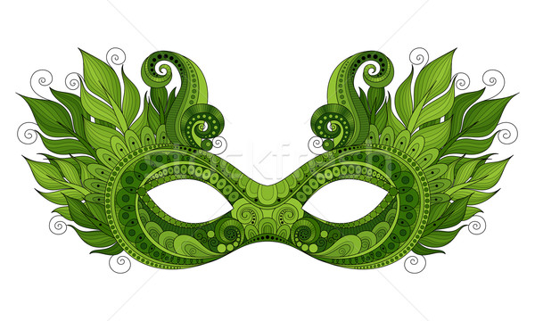 Vector Ornate Green Mardi Gras Carnival Mask with Decorative Fea Stock photo © lissantee