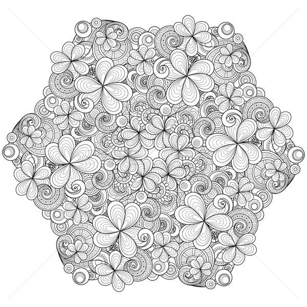Vector monochroom krans decoratief klaver Stockfoto © lissantee