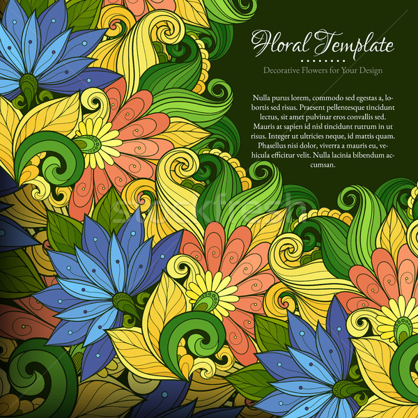 Vector Colored Floral Template with Place for Text Stock photo © lissantee