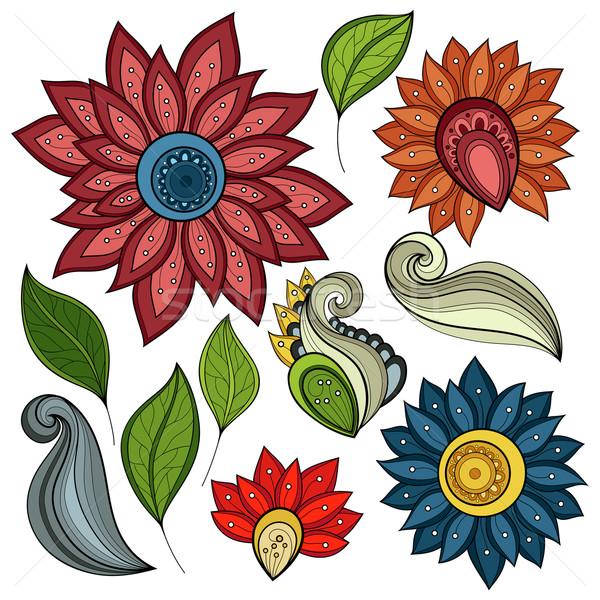 Stockfoto: Vector · ingesteld · gekleurd · contour · bloemen · bladeren