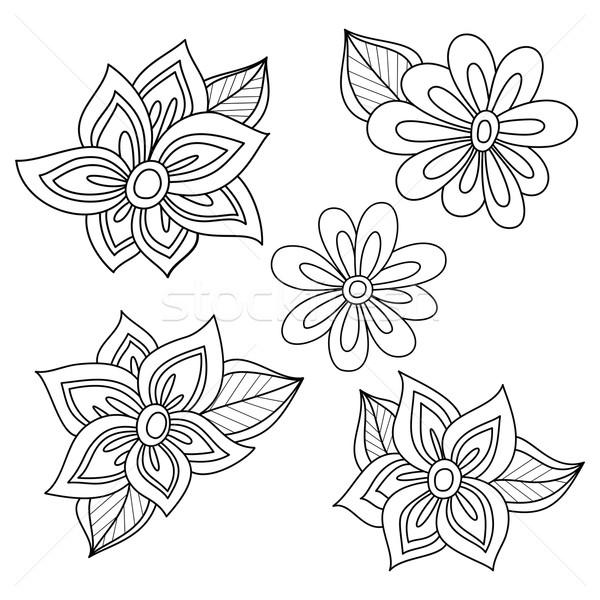 Vector ingesteld monochroom contour bloemen bladeren Stockfoto © lissantee