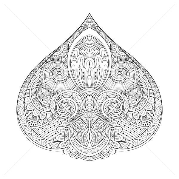 ベクトル モノクロ 装飾的な いたずら書き スタイル ストックフォト © lissantee
