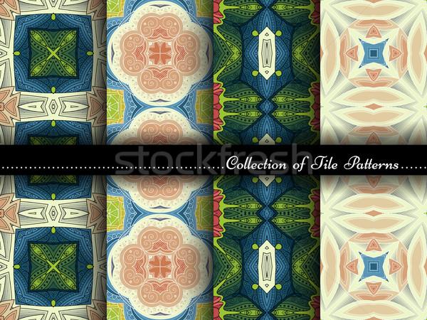 Foto stock: Vector · colección · sin · costura · vintage · patrones · dibujado · a · mano