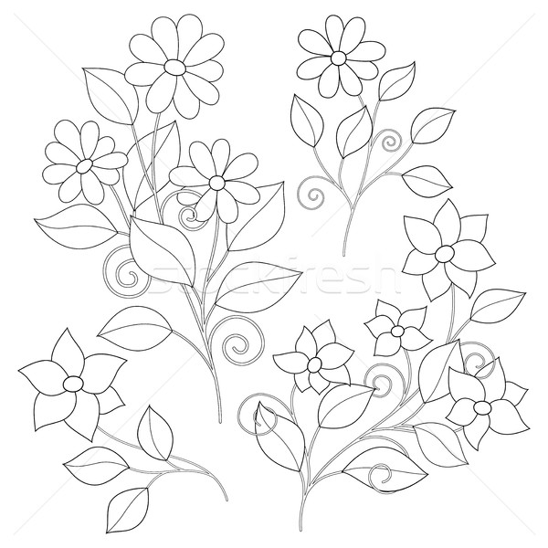 Vector Set of Monochrome Contour Simple Flowers Stock photo © lissantee