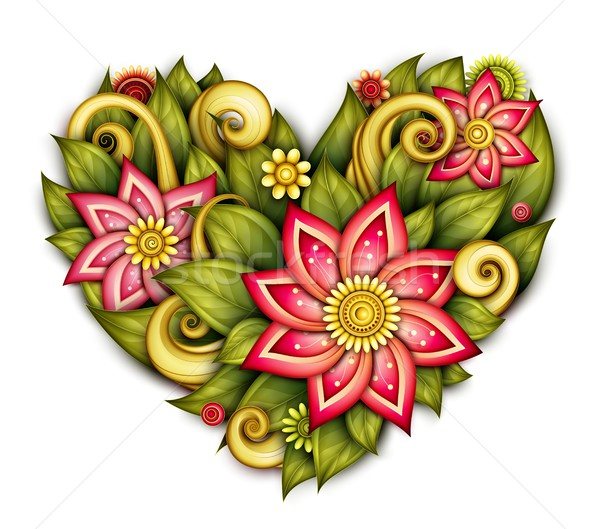 Vector Colored Floral Composition in Heart Shape Stock photo © lissantee