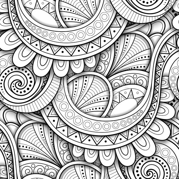 Monochrome Seamless Pattern with Ethnic Motifs Stock photo © lissantee