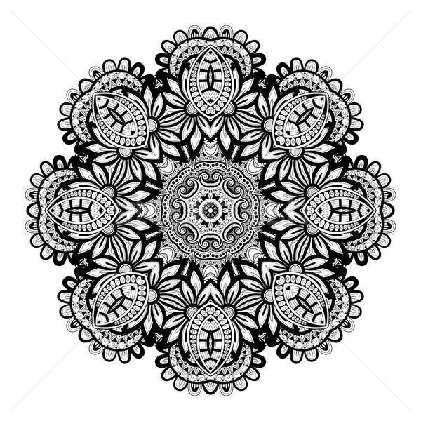 Vector mooie monochroom contour mandala Stockfoto © lissantee