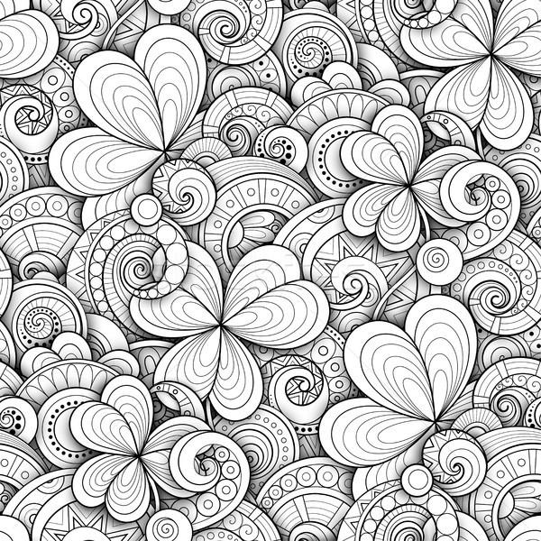 モノクロ いたずら書き 聖パトリックの日 装飾的な クローバー ストックフォト © lissantee