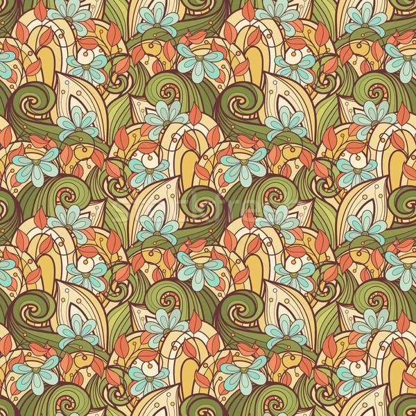 Stock fotó: Vektor · végtelenített · virágmintás · minta · kézzel · rajzolt · textúra