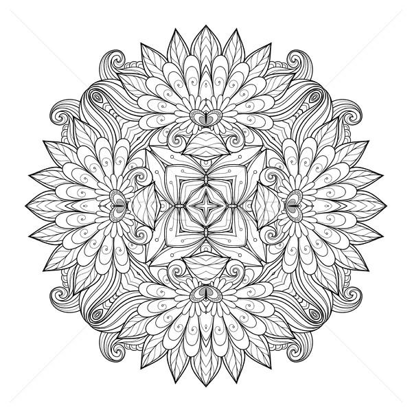 Vector mooie monochroom contour vierkante Stockfoto © lissantee