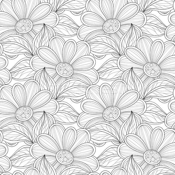 ストックフォト: ベクトル · シームレス · モノクロ · フローラル · パターン · 手描き