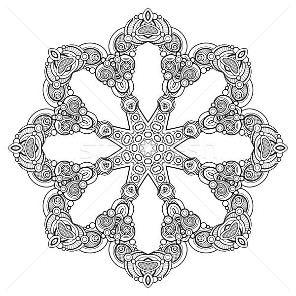 Monochrome belle décoratif mandala floral Photo stock © lissantee