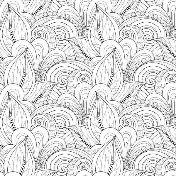 Vektor végtelenített monokróm virágmintás minta kézzel rajzolt Stock fotó © lissantee