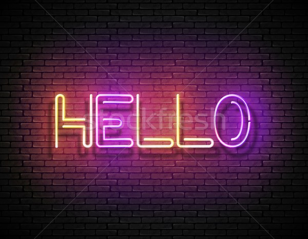 Vintage Glow Signboard with Hello Inscription Stock photo © lissantee