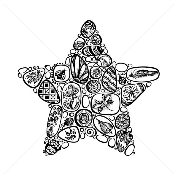 Dekoratív csillag szimbólum tenger kavicsok díszek Stock fotó © lissantee