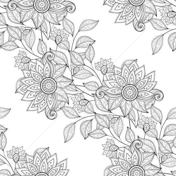 Zdjęcia stock: Wektora · bezszwowy · monochromatyczny · kwiatowy · wzór