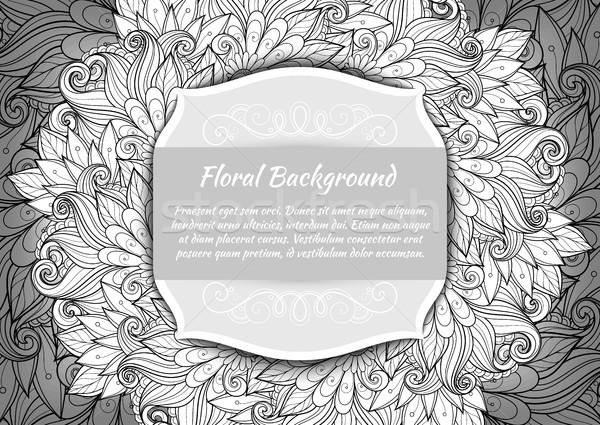 Vector monocromo floral plantilla lugar texto Foto stock © lissantee