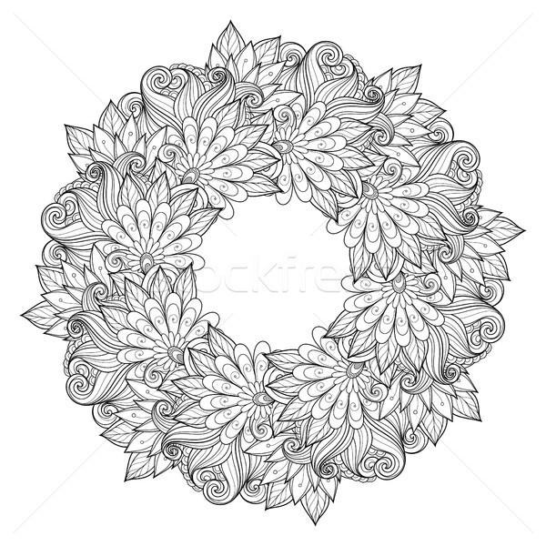 Vetor monocromático floral ornamento coroa Foto stock © lissantee