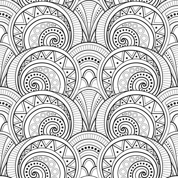 Monochrome Ethnic Seamless Pattern Stock photo © lissantee