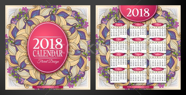 Colored 2018 Year Calendar Square Template, Double-sided Stock photo © lissantee