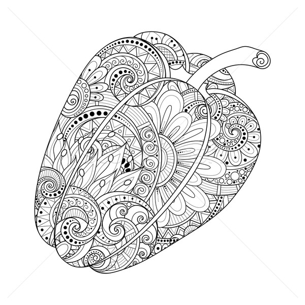 Vector Monochrome Decorative Bell Pepper with Beautiful Pattern Stock photo © lissantee