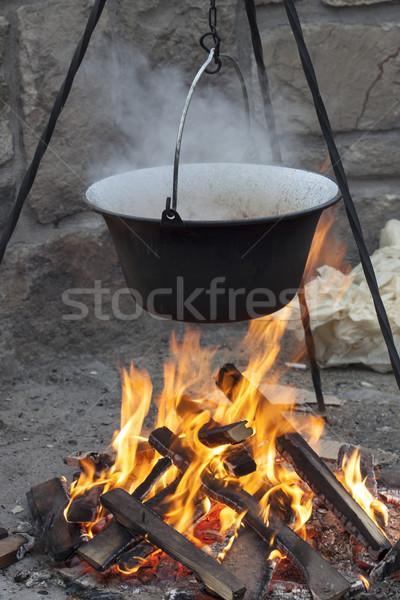 Calderone fuoco legno natura fumo carne Foto d'archivio © LIstvan