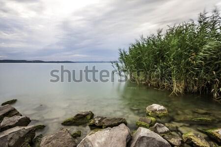 Balaton widoku jezioro wygaśnięcia chmury słońce Zdjęcia stock © LIstvan
