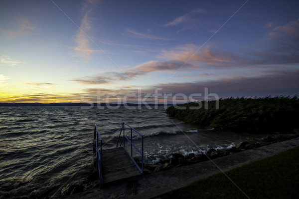 Balaton wygaśnięcia widoku jezioro Węgry chmury Zdjęcia stock © LIstvan