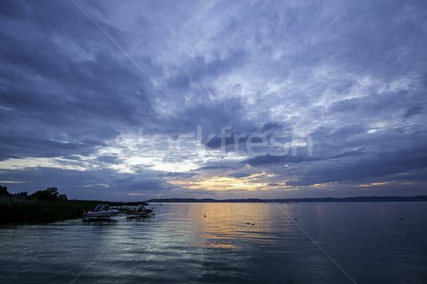 Balaton widoku jezioro Węgry wody chmury Zdjęcia stock © LIstvan