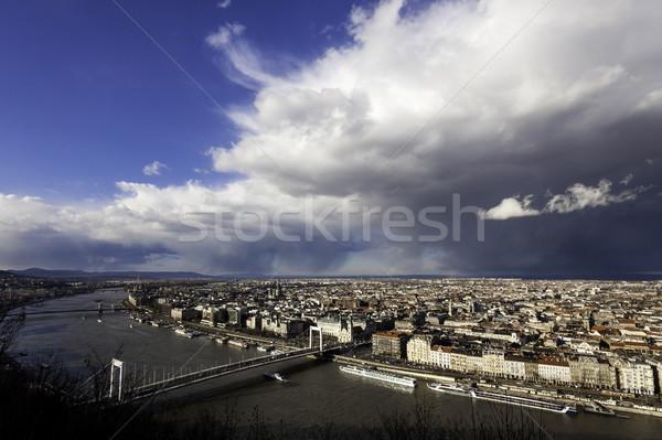 Kilátás Budapest esős nap víz felhők Stock fotó © LIstvan