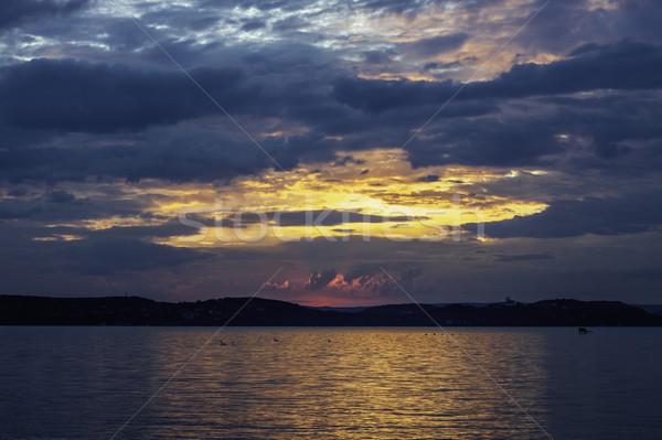 Balaton vue lac Hongrie eau nuages Photo stock © LIstvan