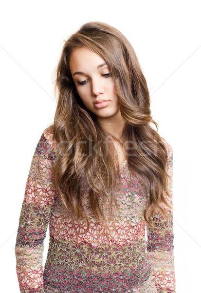 Emocjonalny portret młodych brunetka przepiękny smutne Zdjęcia stock © lithian