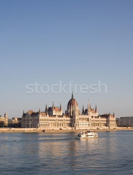 Húngaro parlamento edifício fachada danúbio rio Foto stock © lithian