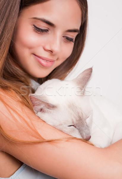 брюнетка красоту кошки портрет сиамские кошки девушки Сток-фото © lithian