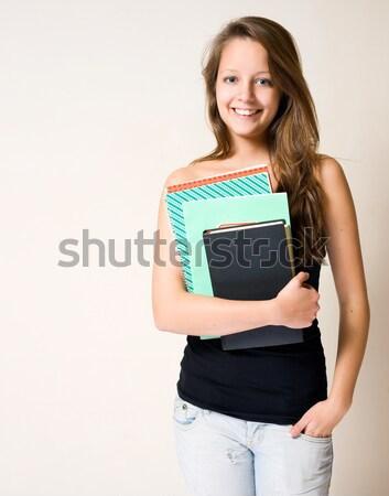 Foto stock: Encantador · jóvenes · estudiante · retrato · morena