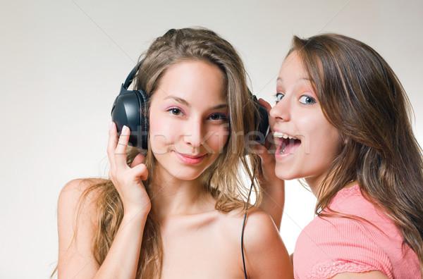 Zene őrület kettő gyönyörű fiatal barna hajú Stock fotó © lithian