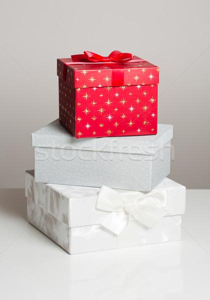 Assortiment coffrets cadeaux décoratif Noël cadeau blanche Photo stock © lithian