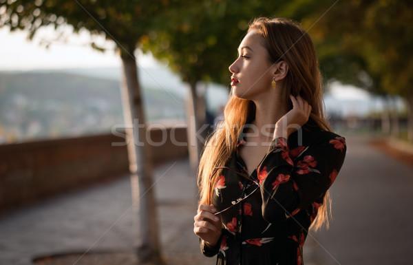 Fiatal divatos barna hajú kint portré szépség Stock fotó © lithian