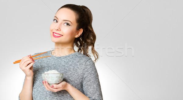 Bruna bellezza ritratto mangiare alimentare Foto d'archivio © lithian
