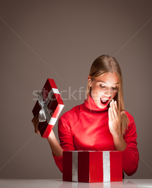 Christmas fun blond. Stock photo © lithian