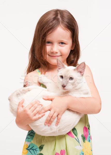 Stock fotó: Gyönyörű · fiatal · lány · tart · macska · portré · sziámi · macska