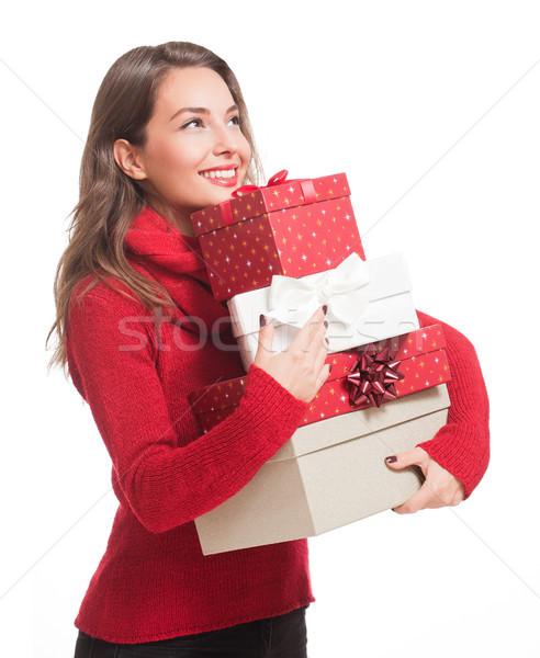 Mutlu neşeli Noel portre genç Stok fotoğraf © lithian