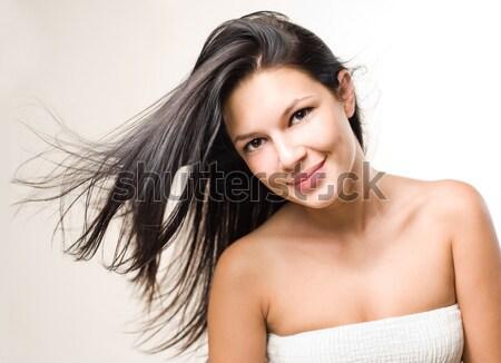 Szépség lövés barna hajú folyik haj dinamikus Stock fotó © lithian