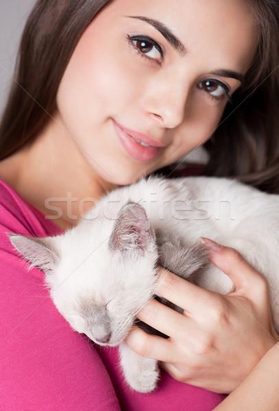 Foto stock: Morena · beleza · bonitinho · gatinho · retrato · belo